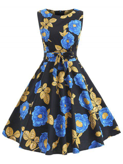 Flower Belted Retro Dress - NIGHT M
