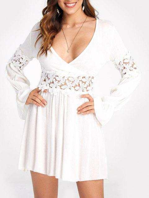 Lace Applique Mini A Line Dress - WHITE XL