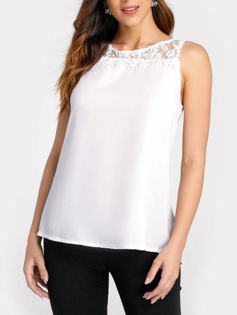 Lace Brim Tank Top - WHITE M
