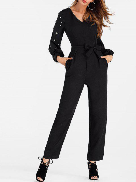 Belted Beaded Jumpsuit - BLACK XL