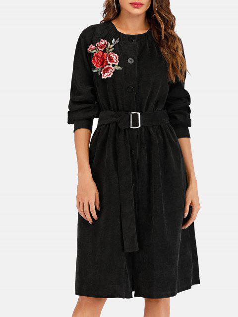 Embroidered Long Corduroy Coat - BLACK S