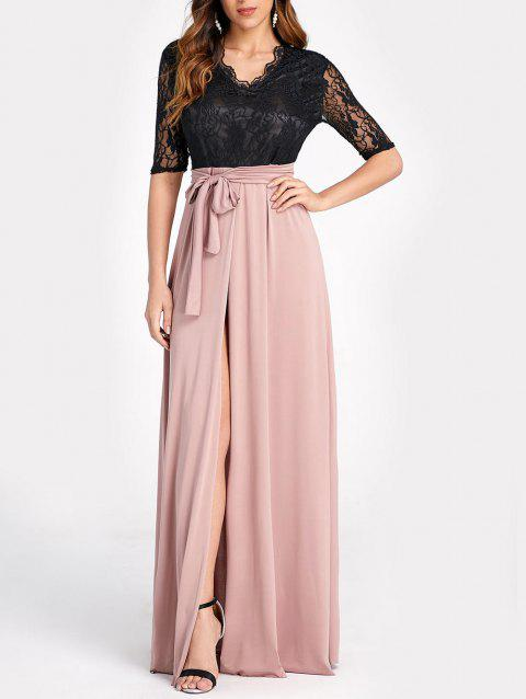 Contrast Lace Panel High Slit Long Dress - ROSE XL
