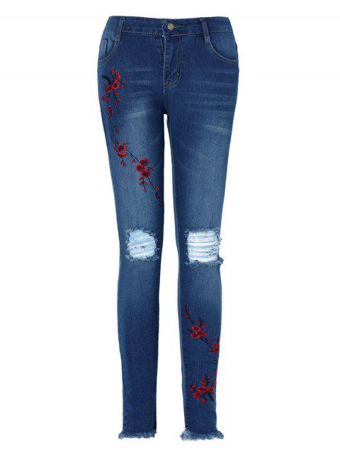 Ripped Floral Embroidered Jeans - JEANS BLUE M