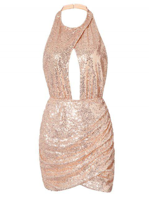 Halter Neck Backless Sequin Dress - PINK M