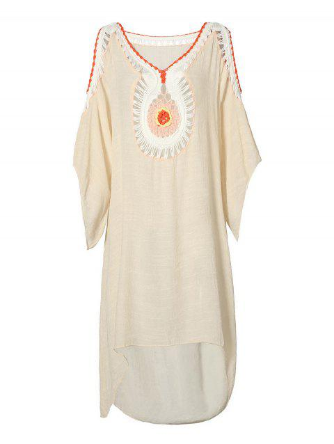 High Low Cold Shoulder Cover Up Dress - BEIGE ONE SIZE