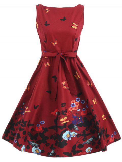 Butterfly Floral Print Tie Knee Length Dress - RED WINE 2XL