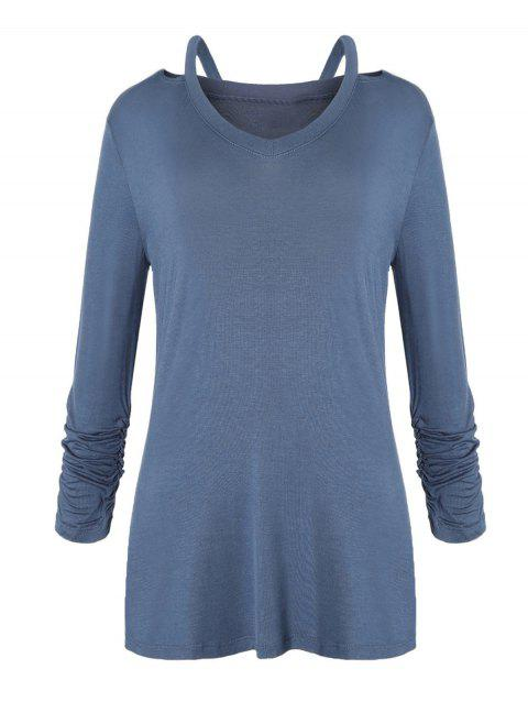 Ruched Sleeve Cut Out T-shirt - PEACOCK BLUE L
