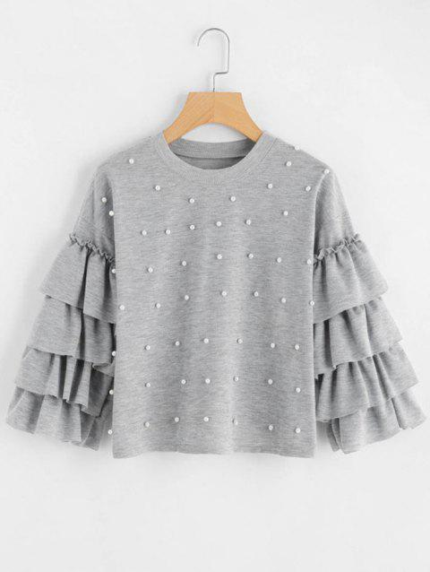 Layered Flare Sleeve Beaded Sweatshirt - GRAY CLOUD M
