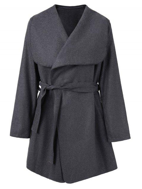 Shawl Collar Belted Coat - SLATE GRAY L