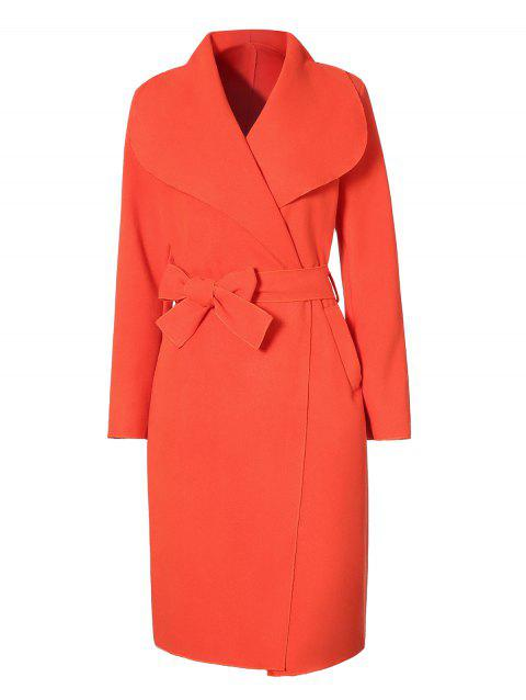 Shawl Collar Longline Coat - RED L