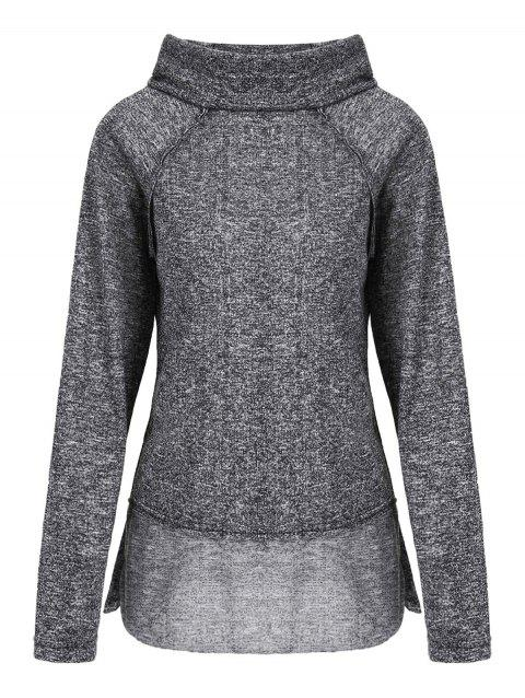Stylish Long Sleeve Cowl Neck Spliced Women's Sweatshirt - GRAY M