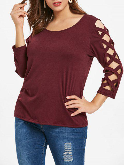 Plus Size Criss Cross Sleeve T-shirt - RED WINE 5X