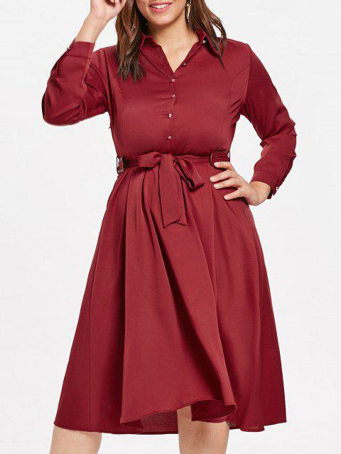 Plus Size Long Sleeve Shirt Dress with Belt - RED WINE 5X