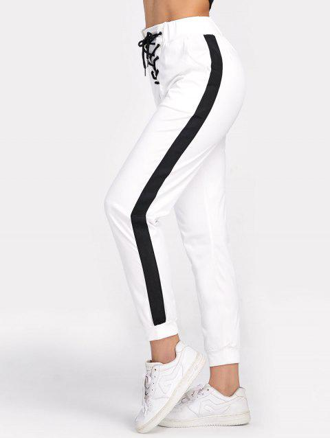 High Waisted Jogger Pants with Lace Up - WHITE M