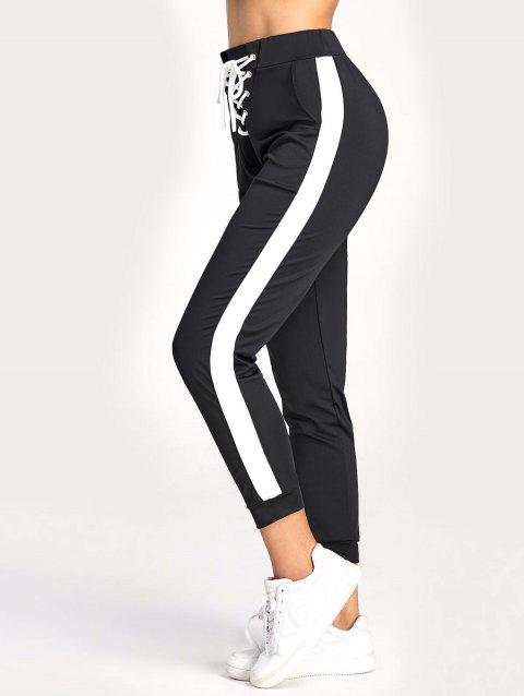 High Waisted Jogger Pants with Lace Up - BLACK XL