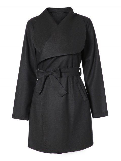 Shawl Collar Belted Coat - BLACK S
