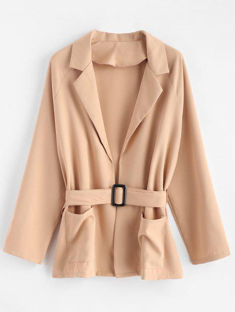 Plus Size Tunic Coat - TAN BROWN 1X