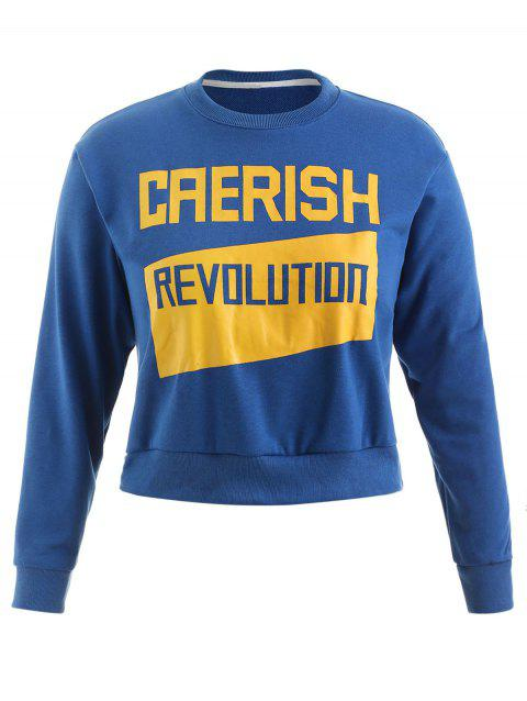 Plus Size Letter Casual Sweatshirt - OCEAN BLUE 2X