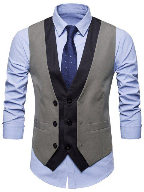 V Neck Layered Color Block Vest - GRAY S