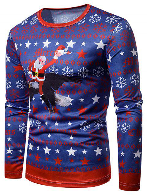 Eagle Santa Claus Printed Long Sleeves T-shirt - multicolor 2XL