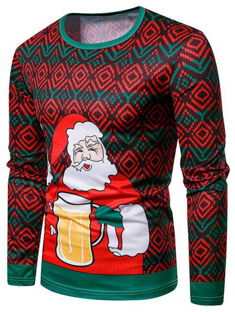 Crew Neck Christmas Geometric and Santa Claus Printed Tee - multicolor M