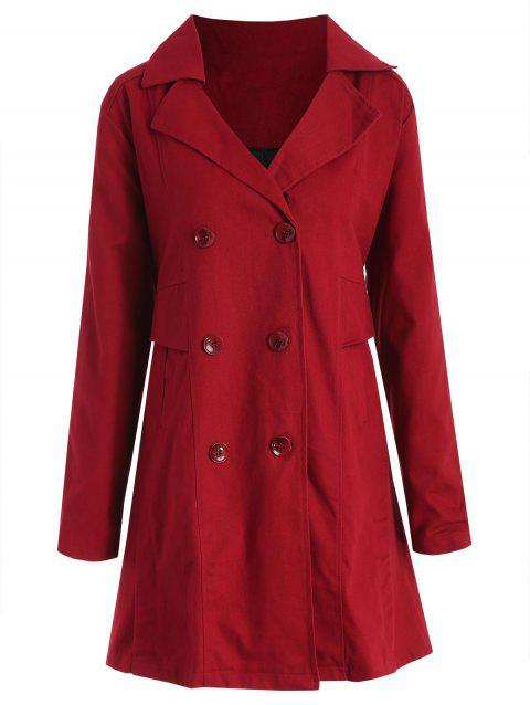 Plus Size Buttoned Lapel Coat - RED L