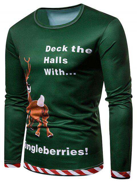 Dingleberries Graphic Elk Noël T-shirt imprimé 3D - Vert L