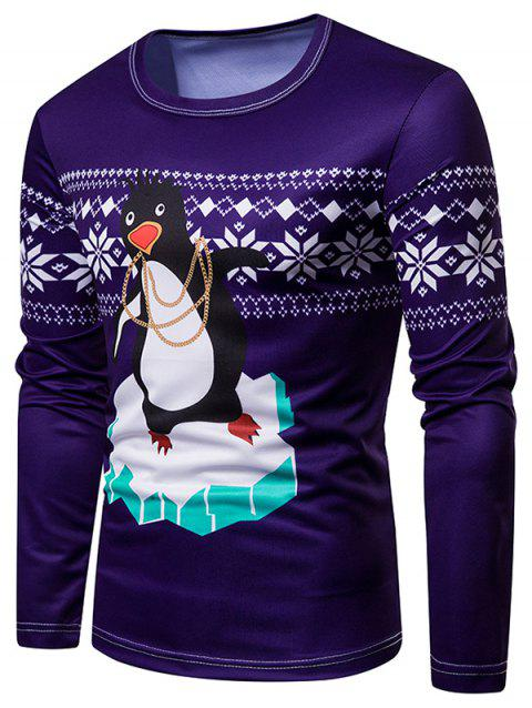 Penguin Christmas Long Sleeves T Shirt - PURPLE 2XL