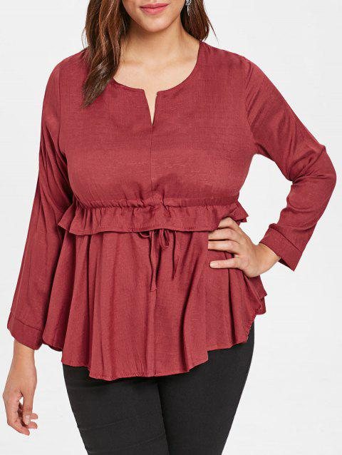 Plus Size Full Sleeve Peplum T-shirt - RED WINE 2X