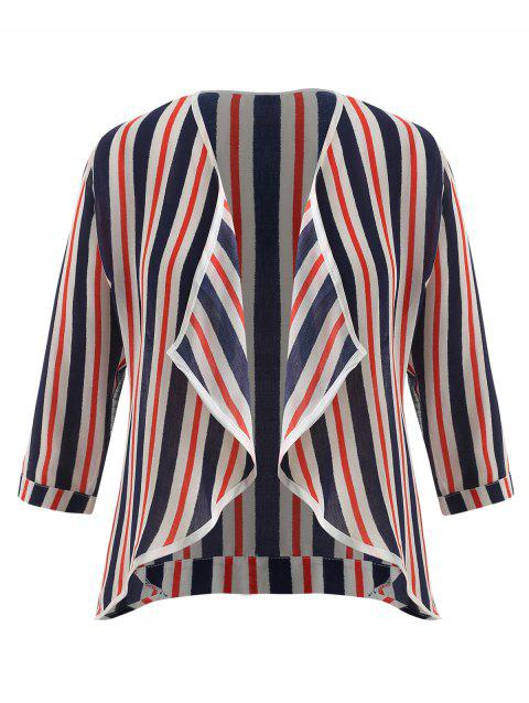 Plus Size Casual Striped Draped Jacket - multicolor 2X
