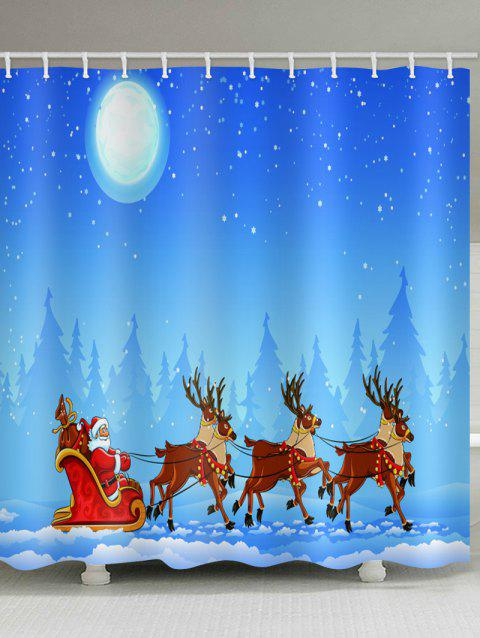 Christmas Moonlight Sleigh Pattern Waterproof Shower Curtain - DEEP SKY BLUE W71 X L71 INCH