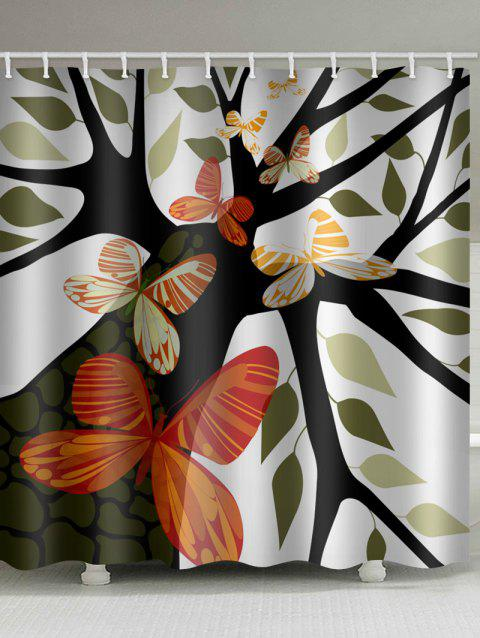 Tree and Butterflies Printed Shower Curtain - multicolor W71 X L71 INCH