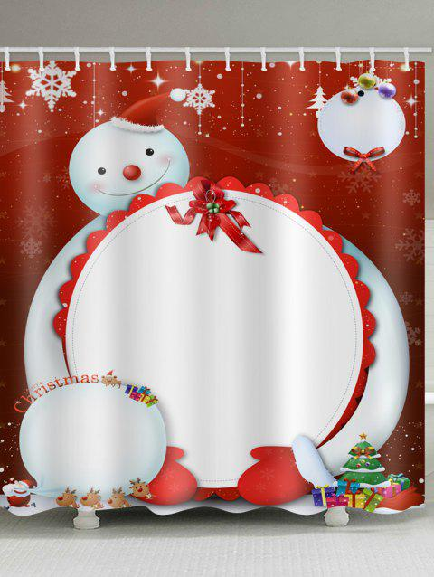 Waterproof Christmas Snowman Pattern Shower Curtain - multicolor W71 X L71 INCH