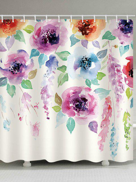 Flowers Printed Waterproof Shower Curtain - multicolor W71 X L79 INCH