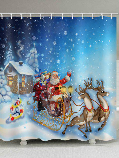 Snowflake Santa Claus Printed Waterproof Bath Curtain - multicolor W71 X L71 INCH
