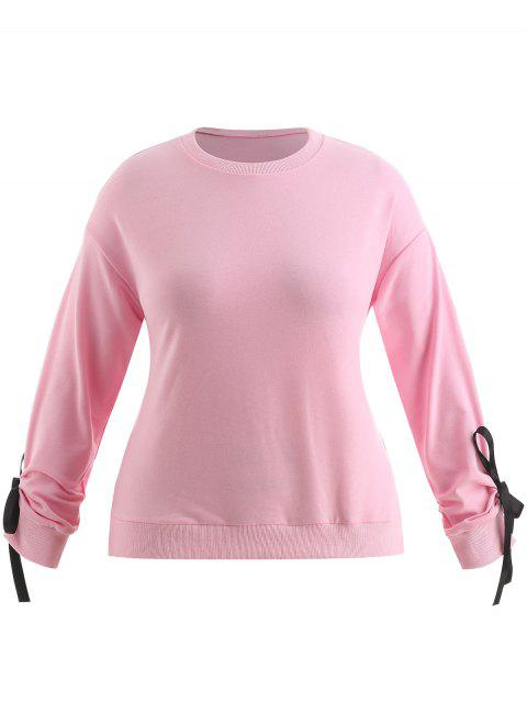 Plus Size Bowknot Drop Shoulder Sweatshirt - PIG PINK 2X