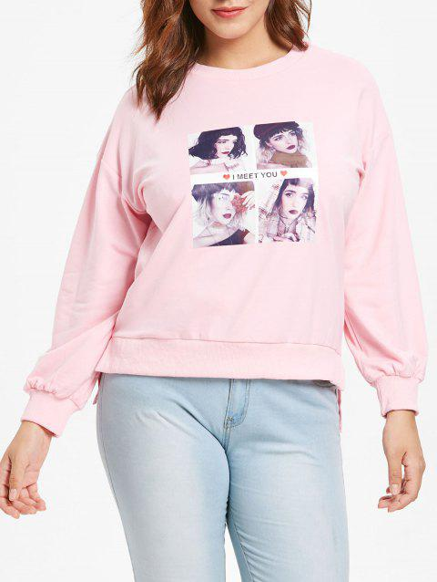 Sweat-shirt imprimé grande taille - Rose Cochon 1X