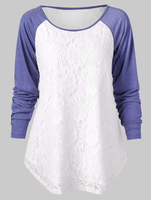 Raglan Sleeve Lace Insert Baseball Tee - WHITE 2XL