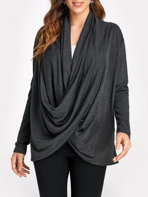 Cowl Neck Long Sleeve Oversized Top - BLACK L