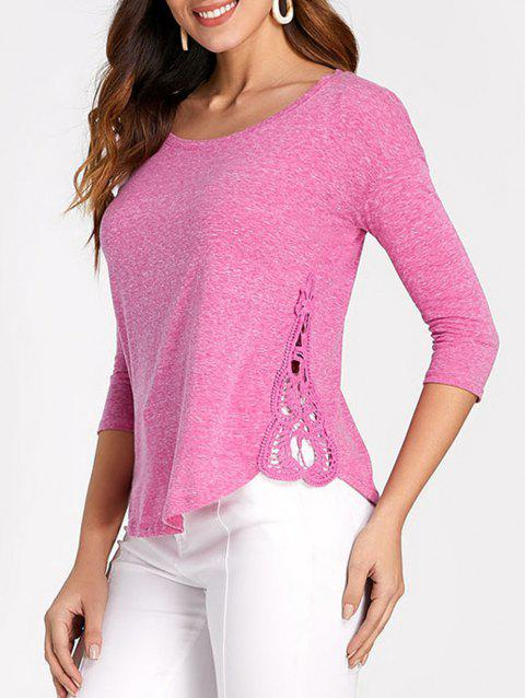 Drop Shoulder Lace Insert T-shirt - HOT PINK L