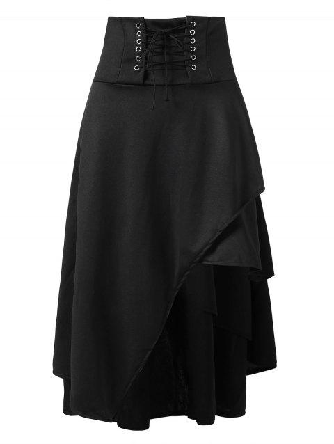 Lace Up Long Asymmetrical Skirt - BLACK XL