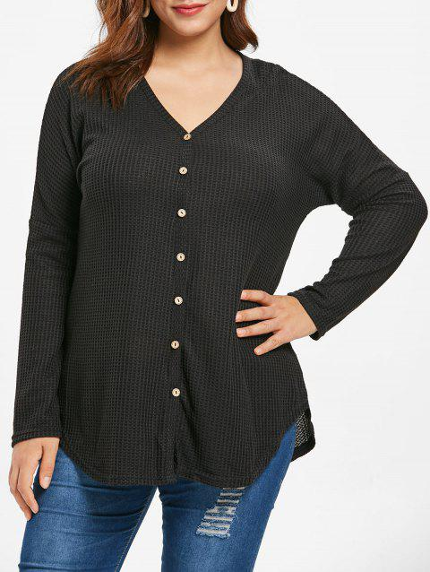 Plus Size Long Sleeve Button Detail Cardigan - BLACK 1X