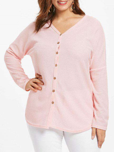 Plus Size Long Sleeve Button Detail Cardigan - PINK 2X