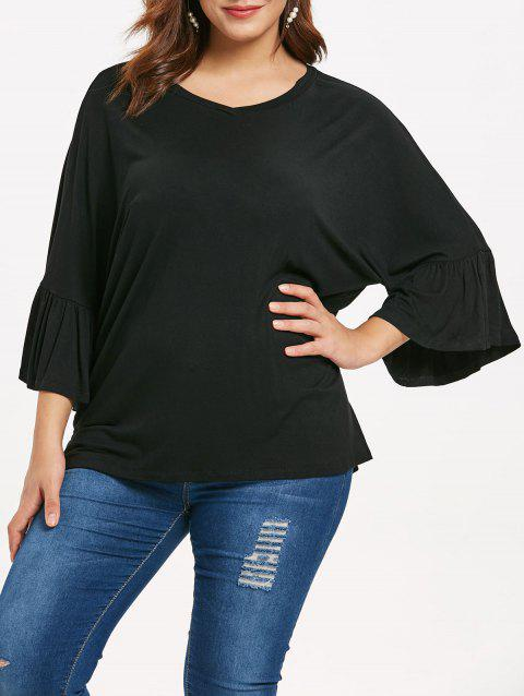 Plus Size Bell Sleeve Oversized T-shirt - BLACK 2X