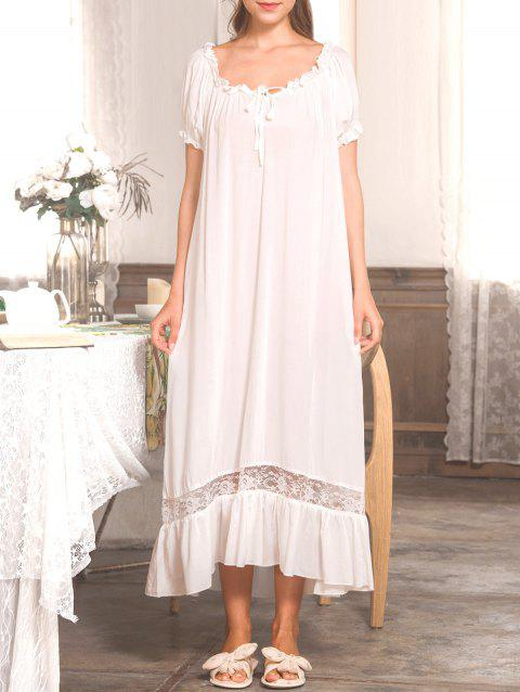 Lace Panel Nightgown Dress - WHITE M