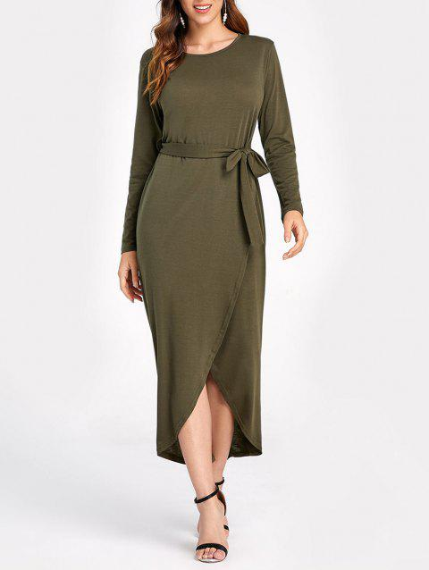 Belted High Slit Asymmetrical Long Dress - ARMY GREEN L