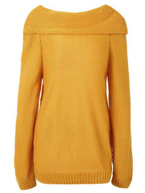 Puff Sleeve Plain Knitted Sweater - GOLDEN BROWN L
