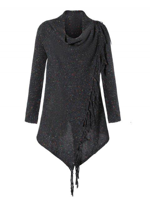 Tassels Asymmetric Knitted Cardigan - CARBON GRAY S