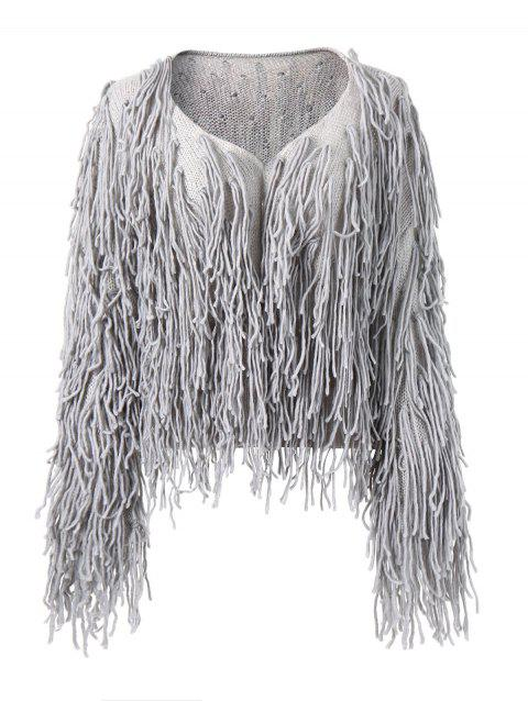 Open Front Tassels Plain Cardigan - GRAY M