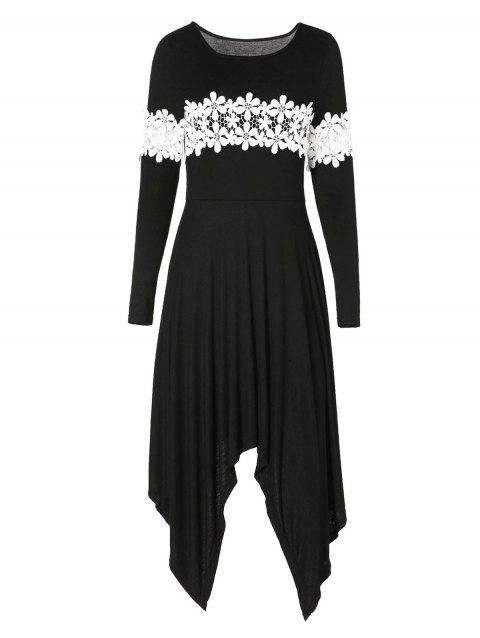 Lace Insert Ruffled Asymmetrical Dress - BLACK S